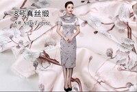 2019 High end Fashion Design Silk Dress Fabric Stretch Inkjet Printed Real Silk Satin Dress Fabrics nouveau telas Silk tissu