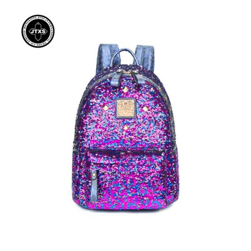 Women Backpack High Quality PU Leather Mochila Escolar School Bags For Teenagers Girls Top-handle Rivet Sequins Backpack Fashion