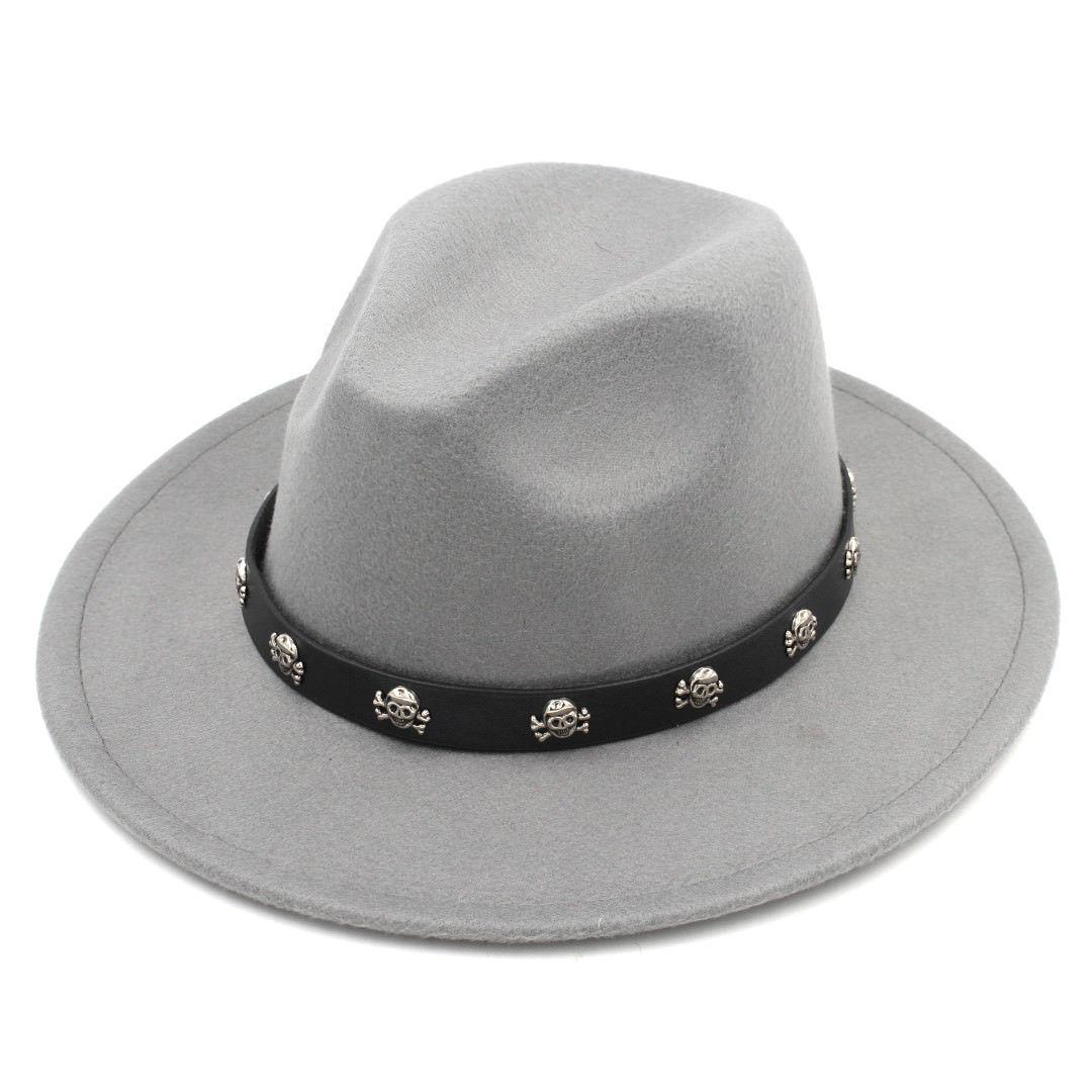 Mistdawn Fashion Men Women Wool Blend Panama Hats Wide Brim Fedora Caps Skull Charms Leather Band Size 56-58cm