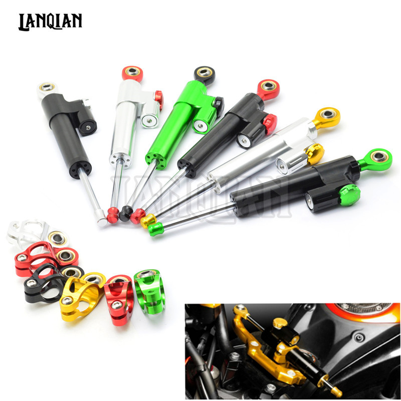 Universal CNC Aluminum Motorcycle Steering Stabilizer Damper For SUZUKI GSXR600 650 R750 SFV400 650 SV650 V-Strom 650 1000 motorcycle clutch wire adjustment cable cnc aluminum m8 m10 for suzuki gsr 600 750 sv 650 1000 sv1000 dl650 v strom 650 1000