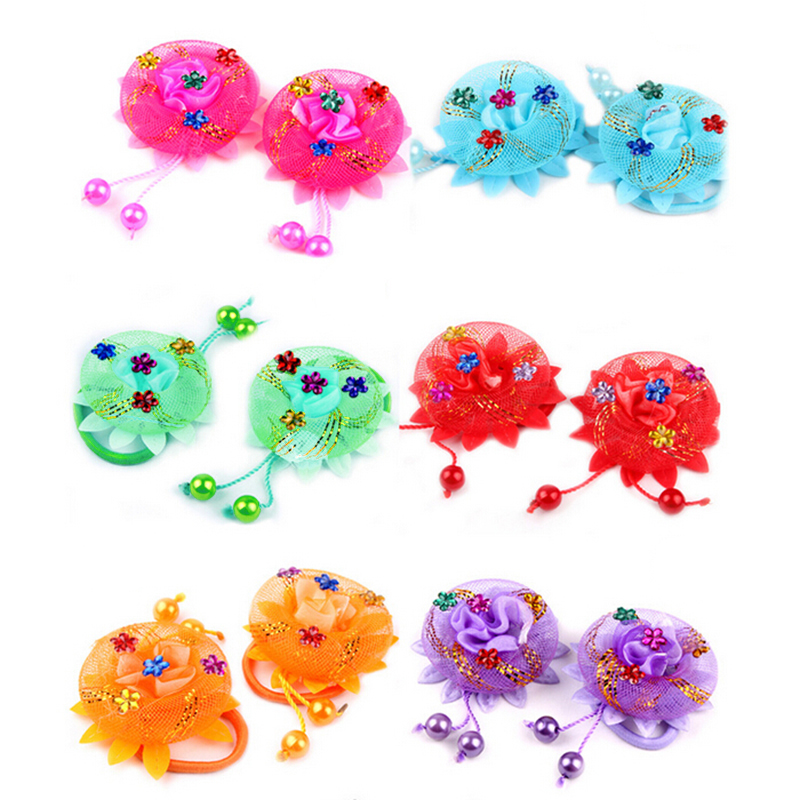 Hot Sale 1pc Flowers Hair Holder Gum Rope Girls Kids Cute Hair Tie Accessories Elastic Scrunchie Styling Head Wear