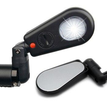 Велосипедное Зеркало MTB для велосипеда со светом, зеркало заднего вида для горного велосипеда, на руль, заднее зеркало, безопасное зеркало з...