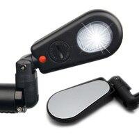 Espejo de bicicleta MTB de ciclismo con luz para bicicleta de montaña espejo retrovisor trasero de seguridad|Espejos de bicicleta| |  -