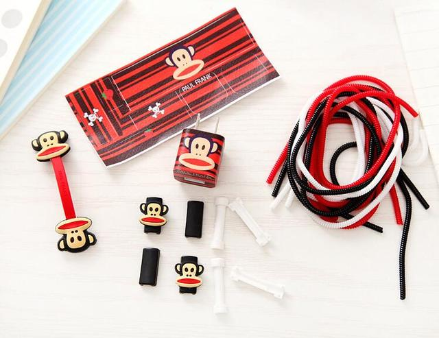For iPhone Usb Cable and Earphone Line Protector Set Charger Plug Sticker Charging Cable Sticker Set With Cartoon Cable Winder