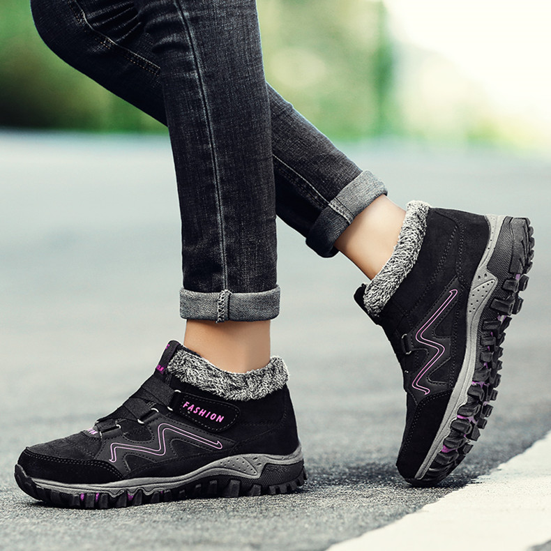 STS BRAND 2019 New Winter Ankle Boots Women Snow Boots Warm Plush Platform Boot Fashion Female Wedge Shoes Snow Waterproof shoes (9)