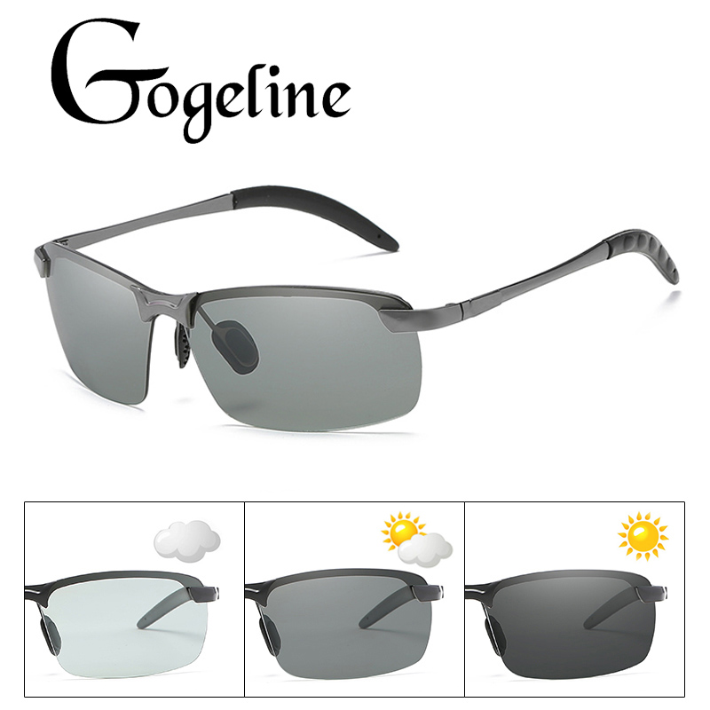 Photochromic Sunglasses Men Polarized Rimless Square Sun
