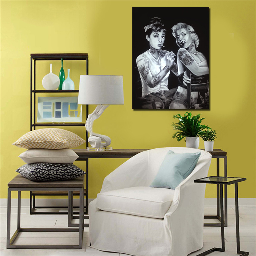 Audrey Hepburn Tattoo Marilyn Monroe Canvas Movie Poster Art Print Games Room