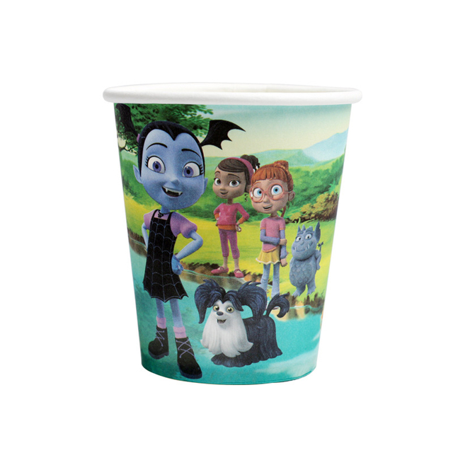 Vampire Girl Vampirina Party Decoration Disposable Tableware Paper Cup Plate Baby Shower Kdis Birthday Halloween Supplies AH11