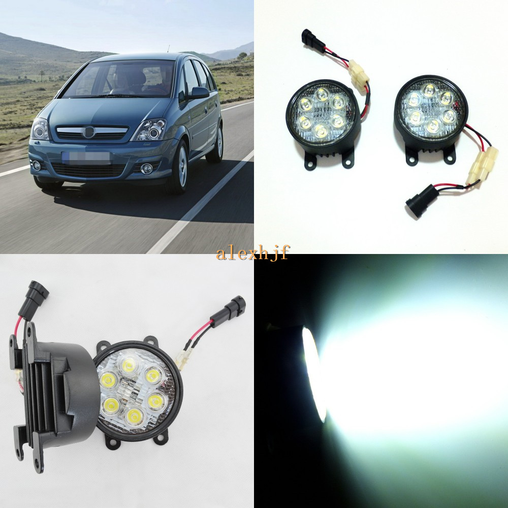 July King 18W 6LEDs H11 LED Fog Lamp Assembly Case for Opel Meriva 2003-2009, 6500K 1260LM LED Daytime Running Lights for opel astra h gtc 2005 15 h11 wiring harness sockets wire connector switch 2 fog lights drl front bumper 5d lens led lamp
