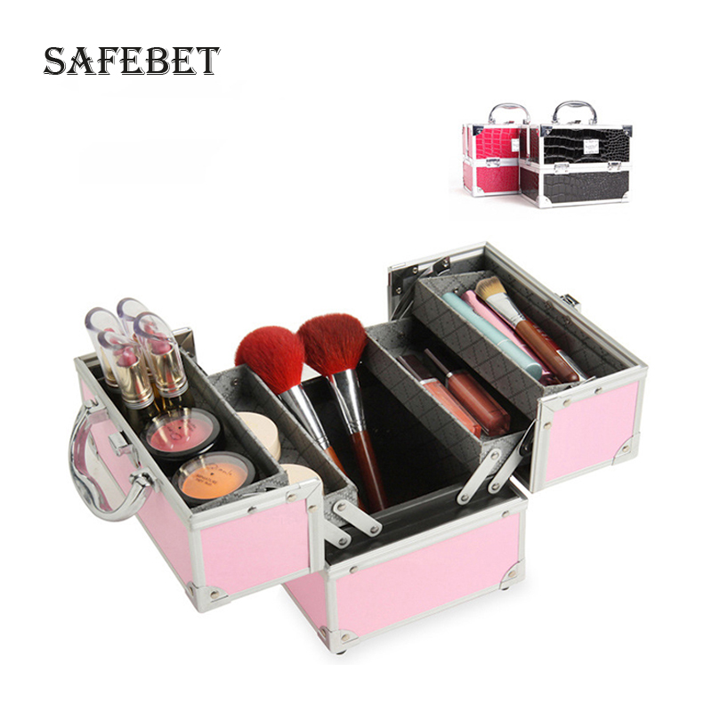 Cosmetologist makeupup organizer organizes dressing table jewelry double open aluminum cosmetic case toolbox cosmetic case
