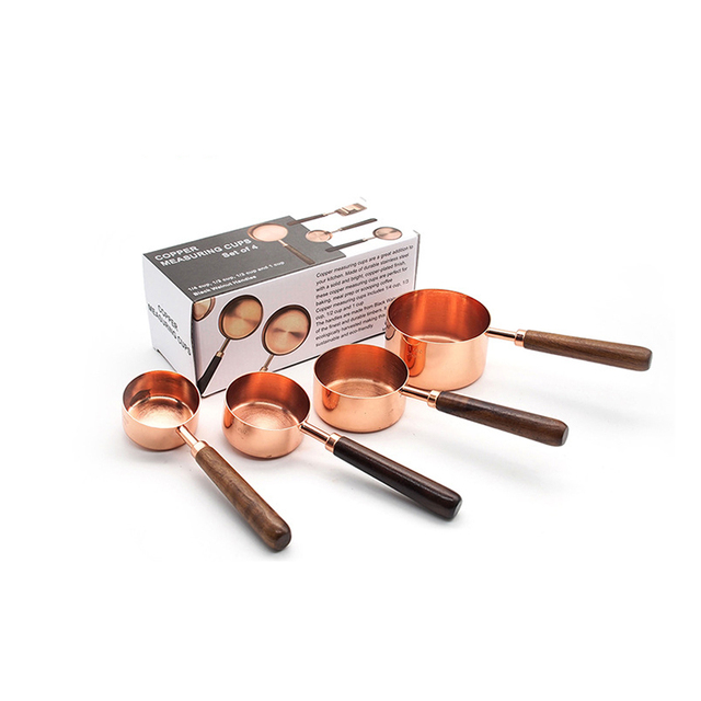 4 pieces/set Copper stainless steel measuring cups with wood handles
