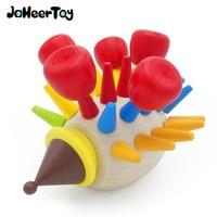 JaheerToy Montado una Inserción Juguete para Niños Bebé Juguetes De Madera Lindo Erizo Color Forma Animal Educación Temprana 3-6 años