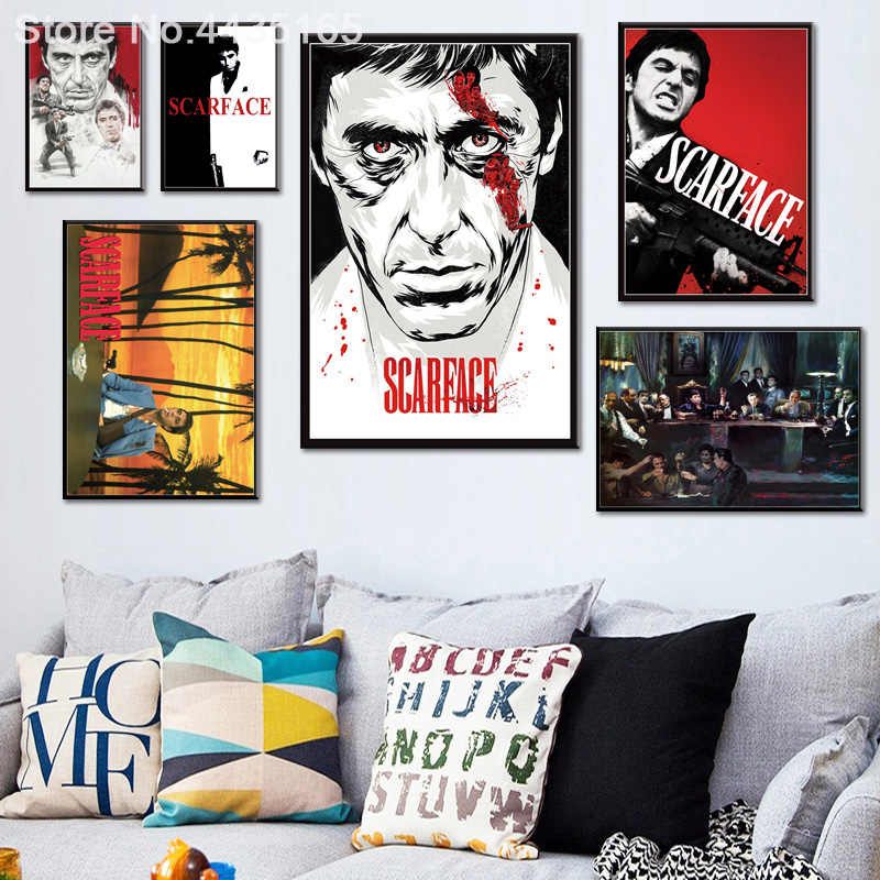 Posters and Prints Al Pacino Scarface Movie Wall Art Poster Canvas Painting Picture Decorative for Living Room Home Decor