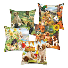 Fuwatacchi Cute Dogs Cushion Covers Pet Pillow for Home Sofa Decor Flowers Printed Square Pillowcases New 2019