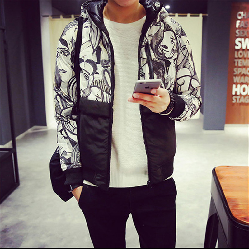 ФОТО Hot Autumn And Winter 2015 Men's Personality Hit Color Stitching Thick Hooded Fashion Duplex Black Printing Cotton Jacket
