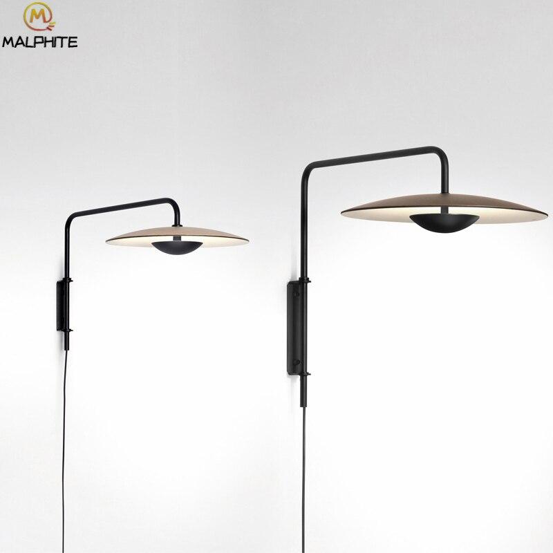 Applique murale moderne en aluminium pour chambre chevet noir chapeaux luminaire applique murale en bois pour salon LED lampes murales d'intérieur