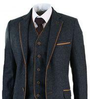 Последние конструкции пальто брюки серый Trim Tweed мужской костюм Slim Fit 3 предмета смокинг на заказ свадебные костюмы жениха вечерний пиджак му