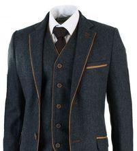 Latest Coat Pant Designs Grey Trim Tweed Men Suit Slim Fit 3 Piece Tuxedo Custom wedding