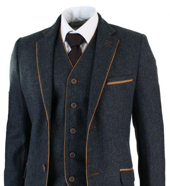 Latest Coat Pant Designs Grey Trim Tweed Men Suit Slim Fit 3 Piece Tuxedo Custom wedding Suits Groom Prom Blazer Terno Masculino