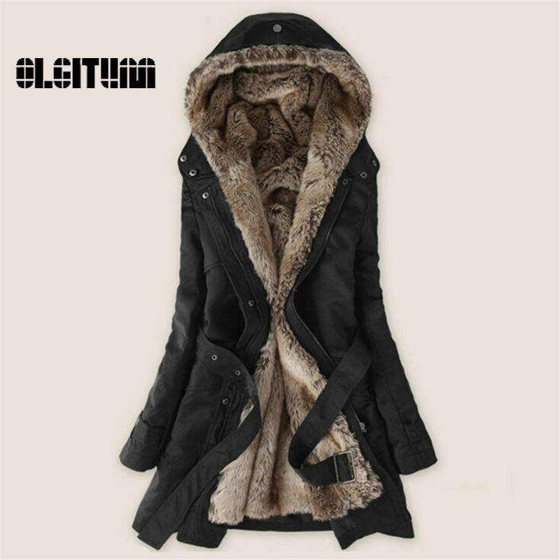 ФОТО Women's Winter Coat Women Clothes Lamb Wool Jacket Thickening Warm Hooded Parka Overcoat PLUS SIZE XXXL  CD161