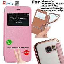 Leather Flip Case Cover For Samsung Galaxy S6 Edge/ S7 Edge/ S8 Plus/iPhone 5s/6 6s plus/7 plus View window smart Sliding answer