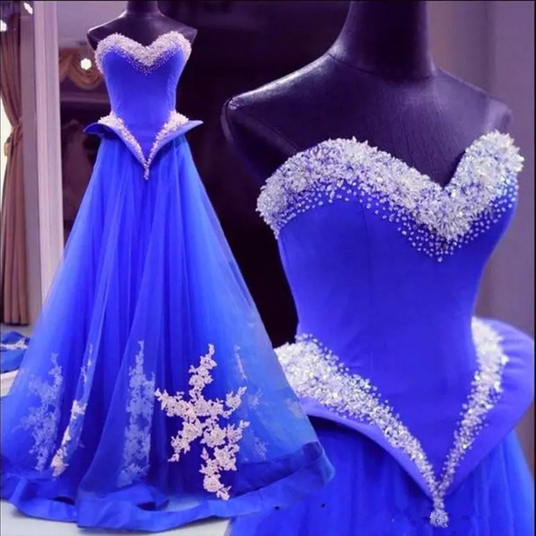 Royal Blue Quinceanera Dresses 2019 Sweetheart Beadings Girl Prom Dresses Sweet 16 Dresses Formal Quinceanera Gowns