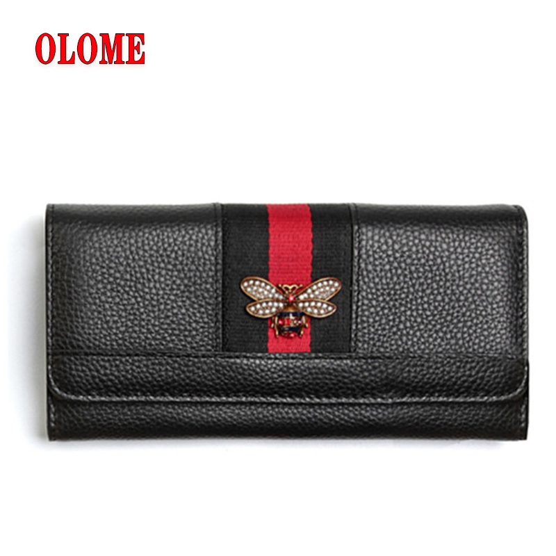 Bee Decoration Clutch Wallet Women Simple Design Wholesale Genuine Leather 2019 Wallet