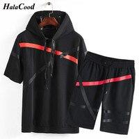 Hot Set Men Cotton 2019 Brand Fitness Suits Summer 2PC Top Short Set Mens Hat Collar Fashion 2 Pieces T shirt Shorts Tracksuit