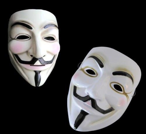 New 2 Guy Fawkes Anonymous Face Mask Hacker V For Vendetta Halloween Fancy Dress
