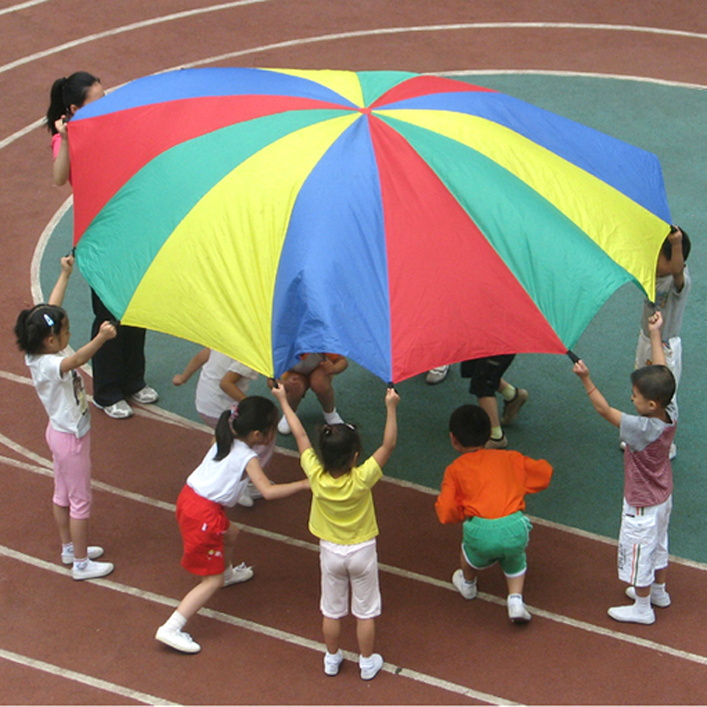 Dia 2m Children Sports Outdoor Rainbow Umbrella Parachute Toy Parents Kids Sports Development Jump-sack Ballute Play Parachute