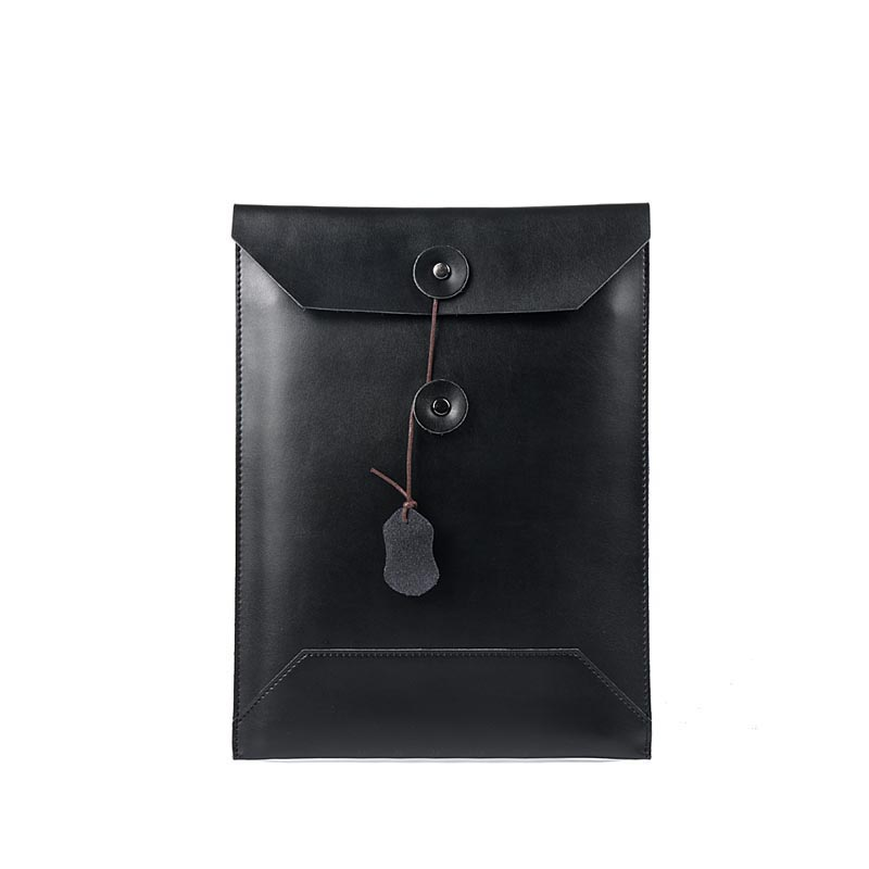 A4 Folder For Documents Simple Solid Black Color Leather Document Paper Bag Business Briefcase Filing Products Storage Organizer
