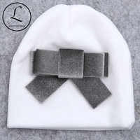 Autumn Winter Soft Thicker Velvet Newborn Baby Boys Girls Hats Beanie Infant Cute Big Bow Hats Cap Newbron Hair Accessories Gift
