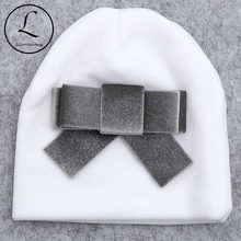 Autumn Winter Soft Thicker Velvet Newborn Baby Boys Girls Hats Beanie Infant Cute Big Bow Hats Cap Newbron Hair Accessories Gift(China)