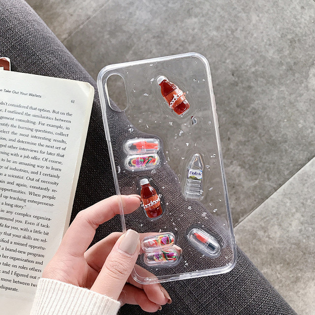 Epoxy 3D Drink Bottle Phone Capsule Phone Case for iPhone XS MAX XR Transparent TPU Back Cover for iPhone X 8 7 6S 6 Plus Coque