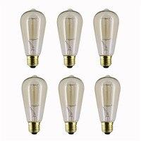 Красивая 220 В E27 лампа накаливания 40 Вт edison ST64 лампы накаливания лампада для домашнего декора 6 шт./компл.