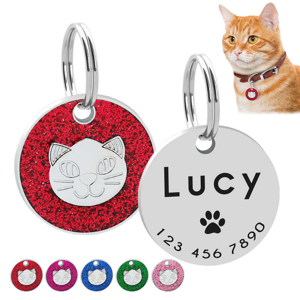 Id-Tag Name-Plate Kitten-Accessories Paw-Print Customized Blue Cat Dog Pink Red Engraved