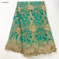 Latest 2017 Nigerian French Mech Lace Fabric Embroidered High Quality African Lace Fabric Teal Color For