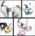 100% real capacidade Amantes colar de coração de cristal Jóias Com Diamantes usb flash drives de 4 GB 8G 16G Unidade Vara Pen/ThumbS30