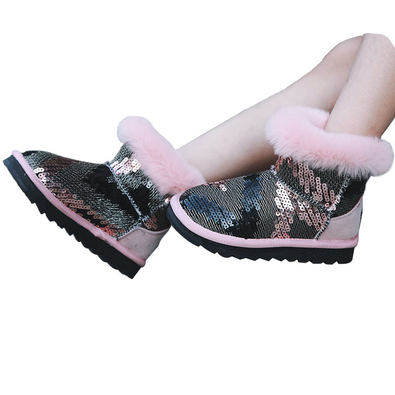 Kids Boots Snow Boots Girls Children Winter Warm Shoes Fashion Sequins Medium-sized Child Boot Cotton Girl boots