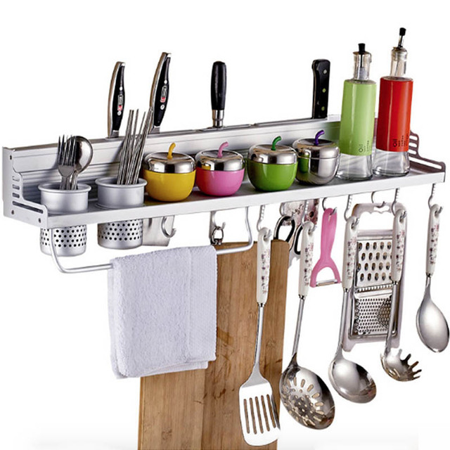 Aluminum Kitchen Rack Shelf, Cooking Utensil Tools Hook Rack, Kitchen  Holder U0026 Storage 40cm