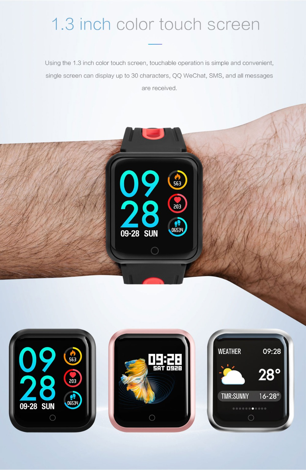 Smart Watch P68 Sports IP68 fitness bracelet activity tracker heart rate monitor blood pressure for ios Android apple iPhone 6 7 3