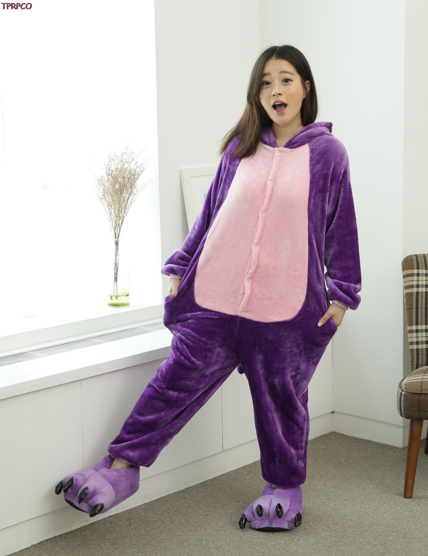 Purple Cat Unisex Adults Flannel Hooded Pajamas Cosplay Cartoon Animal Onesies Sleepwear For Men Women
