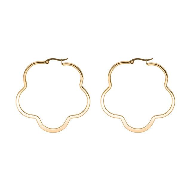 Купить модные серьги кольца цветок для женщин золотой цвет из нержавеющей