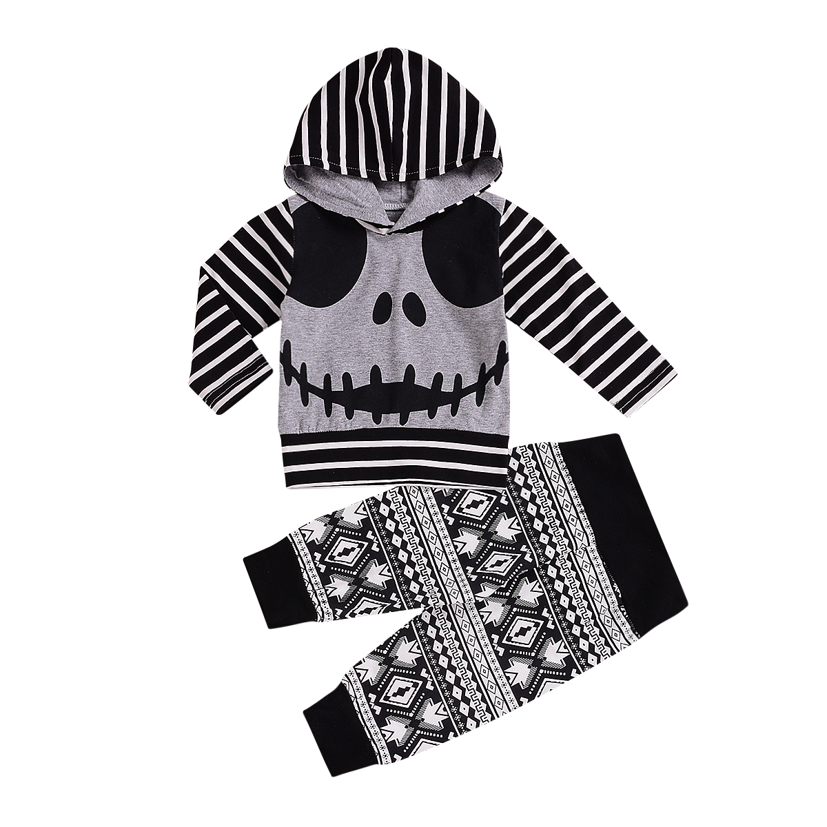 Emmababy 2018 Halloween Toddler Baby Boys Tops Hoodie Skull Striped Pants Outfits 2Pcs Set Autumn Clothes 0-24M цена 2017