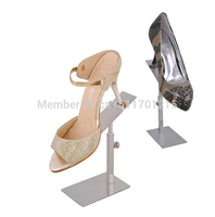 Free Shipping Adjustable Silver Metal Shoe Display Rack Sandals Shoe Display Stand Holder 10pcs