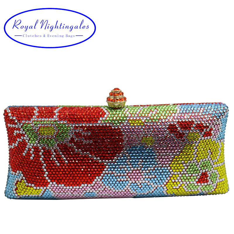 Luxury Flower Crystal Evening Bags and Clutches for Womens Party Bridal Wedding Evening Prom and Matching Shoes and Dress