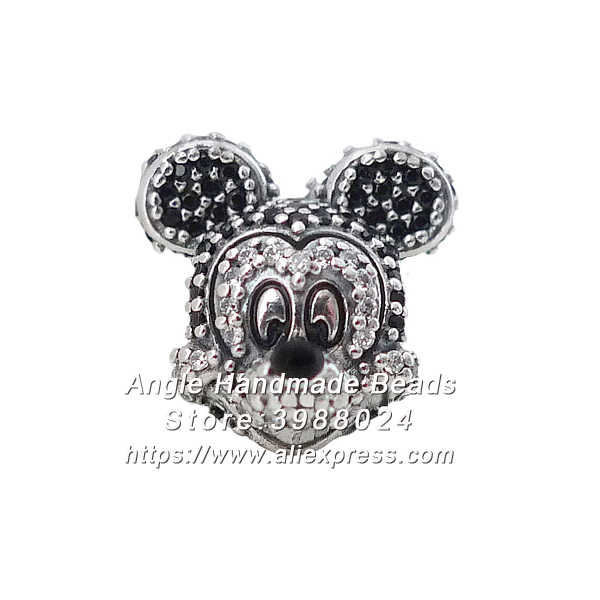 2017 Fashion S925 Silver Limited Edition Sparkling Mickey Portrait With CZ Charms Fit European Bracelets Necklace Jewelry Making