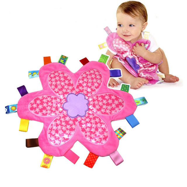 33*33CM Baby Comforting Taggies Blanket Soft Flower Plush Infant Appease Towel Educational Developmental Calm Teether Wipes Toys