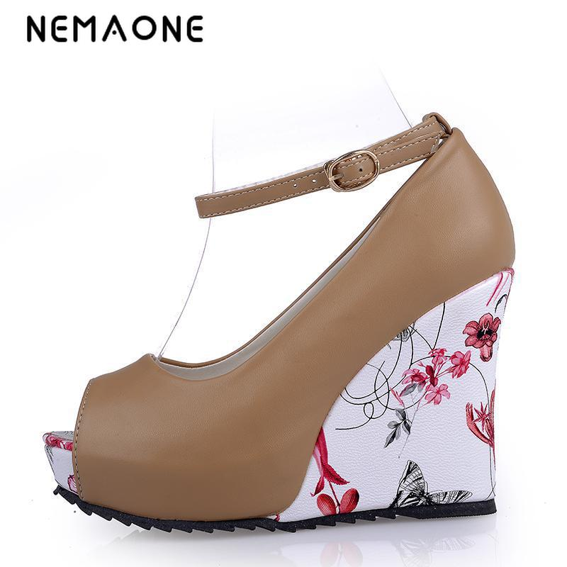 NEMAONE 2017 Summer Fashion Sexy Ankle Strap High Heels Sandals Peep-Toe Women Wedges Sandals Woman Party Wedding Shoes 5pc conan action figure detective conan doll boxes high quality toy anime action figure garage kits gift of mini conan model