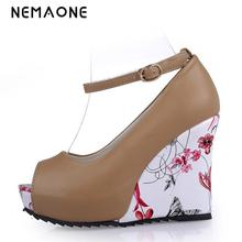 NEMAONE 2017 Summer Fashion Sexy Ankle Strap High Heels Sandals Peep-Toe Women Wedges Sandals Woman Party Wedding Shoes